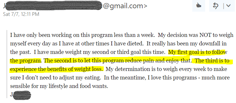 Pain Free Fat Loss review client testimonial joy